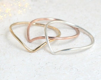 chevron ring SET of THREE stacking rings. minimalist rings. silver, gold, rose gold stack rings. dainty. mixed metal rings. stackable rings.