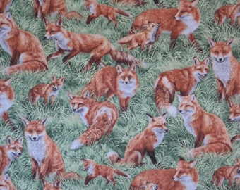 REMNANT--Allover Foxes in the Field Print Pure Cotton Fabric--29 INCHES