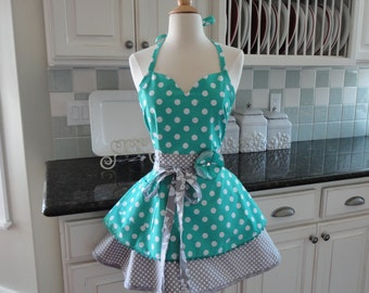 Apple of My Eye  ~ READY TO SHIP ~ Cute for Bridal Gift -  Sadie Style  ~ Women's Retro Modern Apron - 4RetroSisters