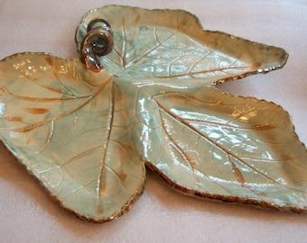 Large Pottery Leaf Serving Platter or Antipasto Plate with Decorative Stem