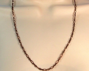 Long Antique Copper Chain Three Lengths 18 Inch, 22 Inch or 27 Inch Adjustable Chain 5mm Wide