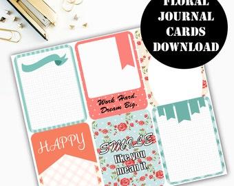 Floral Print Journaling Card Printable / Journal Cards / Scrapbook Kit / Journaling List / Listers Gotta List / Instant Download 00085