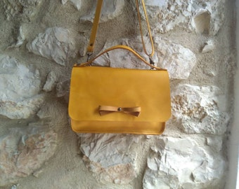 Yellow Leather Hand Bag