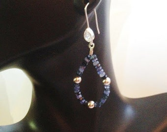 Natural Blue Sapphire Earring in Sterling Silver
