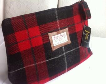 Man's Harris tweed wash bag shave bag toiletry bag groomsmen gift corporate gift red tartan Scotland