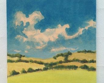 Original Landscape Painting on canvas 8x8 Clouds Hills Sky California