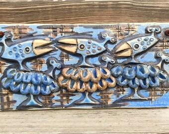 Scandinavian design /Ulla Winblad stoneware plaque tile wall hanging relief / bird sheep /Alingsås Keramik / Sweden 60s