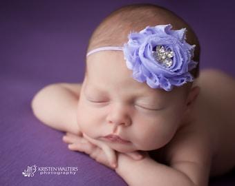 FREE SHIPPING! Lavender Headband, Shabby Chic Headband, Lavender Baby Headband, Lavender Newborn Headband, Photography Prop
