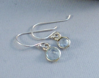 Tiny Aquamarine,Earring,Aquamarine Earring,Blue Earring,Aquamarine Birthstone,Round,AquaSterling silver,Aquamarine Birthstone,Seamaidenjewel