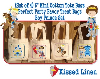 Fairytale Prince Birthday Treat Favor Bags Mini Cotton Totes Children Kids Guests Prince Party Favor Treat Gift Bags - Set of 4