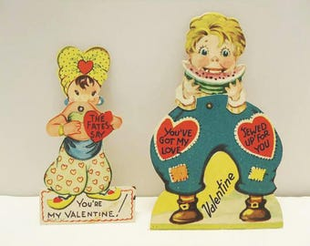Two Children's Valentine's Greeting Cards / 1950's Mechanical Novelty Cards / Unused Cards