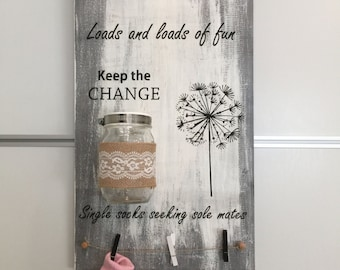 Cute Laundry Rustic Sign! Hand painted, Wood Sign, Distressed Sign, Home Wall Decor, Wood Stain Sign
