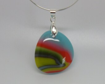 Fused art glass Summer pendant