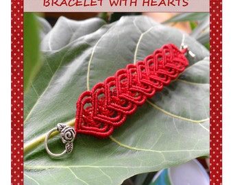 Macrame Tutorial 4  Valentine's Bracelet /  PDF  Bracelet macrame Pattern / Macramedamare