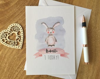 Personalised Birthday Card Girl 1st 2nd 3rd Bunny Animal Daughter Niece
