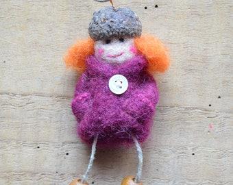 "Woolen necklace ""Lady purple and orange"""
