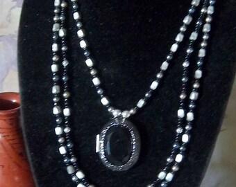 Victorian Looking Three Strand Locket Necklace