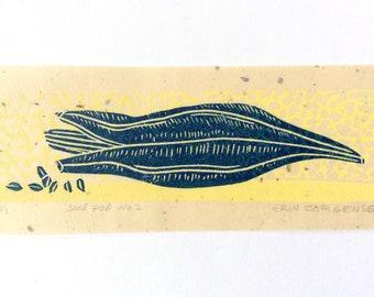 mini linocut - SEED POD //  printmaking // block print // nature art // blue, yellow // original art // small, miniature // seeds // 2x5