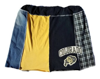 Upcycled - Repurposed - Recycled Colorado T-Shirt Skirt - Spirit Wear Clothing - Lounge Wear- CU - Buffs - Boulder - College Skirt - Large