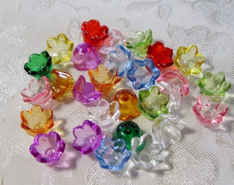 Acrylic Lucite Bell Flower Cap Beads Transparent Choose Your Colors 10mm x 6mm 411