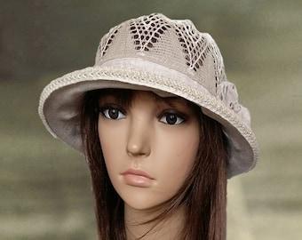 Suns hats linen lady, Summer womens hats, Women's linen hats, Womens sun hats, Cotton hats summer, Fabric cloche hats, Hats with brim