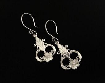 Sterling Silver Earrings, Sterling Silver Jewelry, Flower Earrings, Filigree Earrings, Drop Earrings, Dangle Earrings, Elegant Earrings
