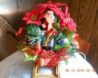 Red Christmas Sleigh / Red Poinsettias & Santa