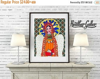 50% SALE- Mexican Folk Art  Print Poster by Heather Galler of Painting - Virgin of Guadalupe Angel (HG624)