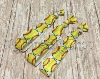Softball Favors, Softball Hair Ties, softball Foldover elastic, ball mom, ponytail holder, knotted hair band, yellow softball, girl hair tie