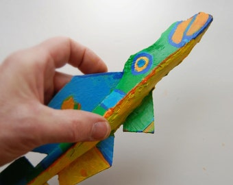 Colorful Fish Art - Ready to Hang Whimsical Funky Fish Wall Decor for Lake House, Kitchen, Bath - Painted Recycled Wood