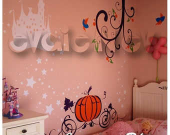 Princess Castle Wall Decals - Cinderella Magical Stickers with Birds, Pumpkin Carriage, Two Branches and  - PLFC010R