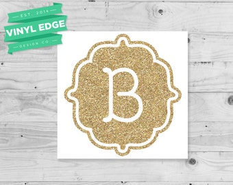 Glitter Initial Decal - Custom Glitter Monogram Decal - Custom Initial Decal - Yeti Tumbler Custom Decal - Laptop Monogram Decal [MON0015]