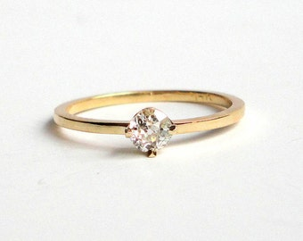 Old Mine Cut Diamond Ring, Engagement Ring, Wedding Band, 14K Yellow Recycled Gold