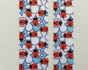 """Lady Bugs Red on blue white grosgrain ribbon  1"""" 1.5"""""""