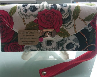 NCW, Necessary clutch wallet, purse, bag, skull and roses