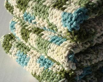 Three Cotton Crochet Emerald Isles Washcloths in Variegated Green, Blue, White Dish Cloths - Ready To Ship Dishcloths, Wash Cloths