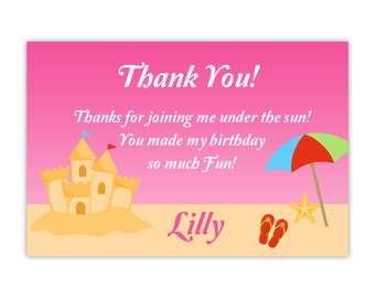 Beach Thank You Card - Cute Hot Pink Sand Castle and Umbrella, Sea Star Beach Personalized Birthday Party Thank You - Digital Printable File