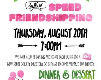 Speed Friendship {Relief Society Activity Invite}