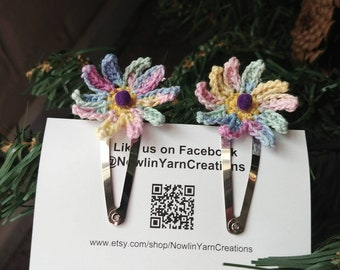 Rainbow Flowers Hairclip Set
