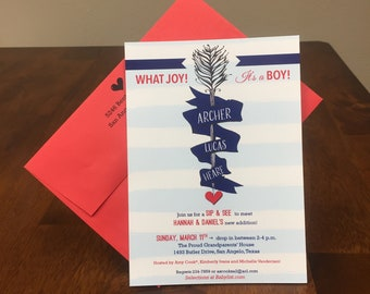 Qty. 25 Baby Shower Invitations Arrow Blue Stripe Baby Boy Shower Invitations Navy Boy Baby Shower Invitations with Red Envelopes