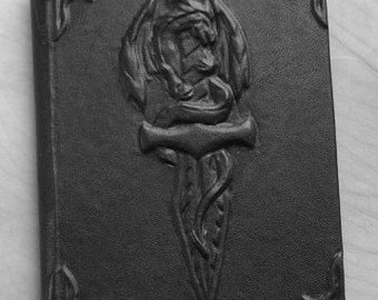 Large blank handmade leatherbound book The Dragon and the Blade