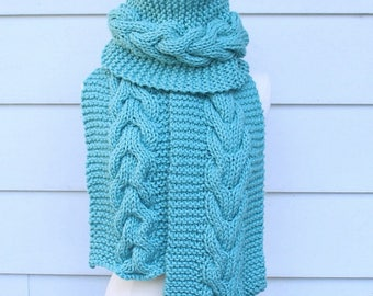 Cable knit scarf pattern, cable scarf pattern, chunky knit scarf pattern, knit cable scarf pattern, chunky cable scarf pattern