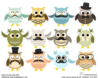 12 Owls with mustache Digital clip art for Personal and Commercial use - INSTANT DOWNLOAD