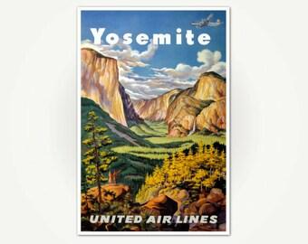 Yosemite National Park Vintage Travel Poster Print - Vintage California Travel Poster Art - National Parks Travel Poster