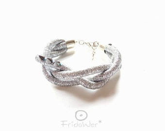 Gift for mom, Silver Braided Bracelet with spikes. Silver Rope bracelet. Spike bracelet big braid rope. Gift for her, gift for mother's day