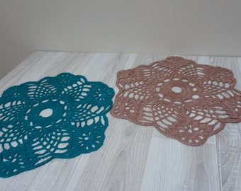 Set of 2 beige green teal crochet round doily runner Coaster mat pad table placemat folk style flower openwork small cotton snowflake medium