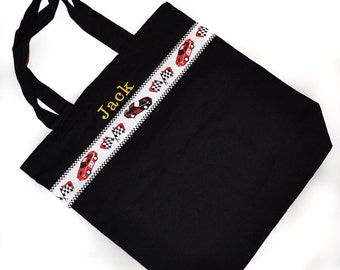 Race Car Tote Bag with Monogram Name Embroidered on it, Personalized Bag, Swin Bag, Toy Bag, Boy Tote Bag