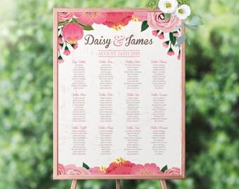 Printable Table Plan, Custom Table Plan, Wedding Table Plan, Floral Table Plan, Peonies Table Plan, Seating Chart, Digital Table Plan