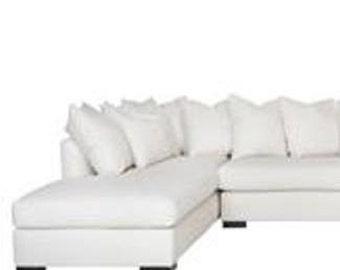 Modern White Denim Indoor Pillow cover with Hidden Zipper