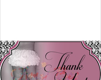 Baby Girl Shower - Thank You Note - Folded, 4x6 final size